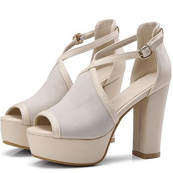 New thick heel platform fish mouth shallow buckle sandals shoes