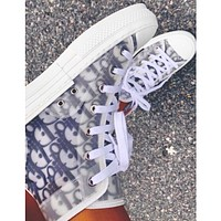 Dior hot sale casual printed letters men and women high-top sneakers