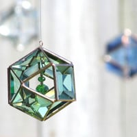 3D Faceted Green Glass Mobile Globe Suncatcher - Glass Crystal and Copper Ornament