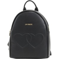 Love Moschino Women's Double Heart Book Bag Backpack (Size: 12 H x 10 L x 4.5 D Inches, Color: Black)