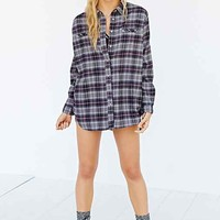 BDG Obie Flannel Button-Down Shirt- Grey