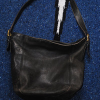 Vintage 1980s COACH Black DISTRESSED LEATHER Crossbody Tote Purse