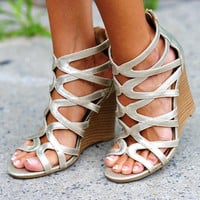 Gladiator Of Love Wedges: Gold   Hope's
