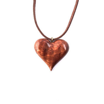 Wooden Heart Necklace, Wooden Jewelry, Hand Carved Pendant, Heart Pendant, Heart Necklace, Wooden Heart Pendant, Wood Pendant, Wood Jewelry