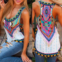 NEW 2017 Summer Fashion Women Sleeveless Casual Loose Tribal Print Blouses blusas femme Sexy Ladies Boho Beach Tops Shirts Cheap