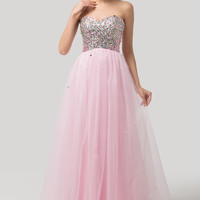 Pink Sweetheart Strapless Sequins Beaded Flowing  Evening Dress