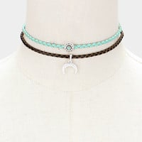 Braided Faux Leather Crescent Moon Choker Necklace