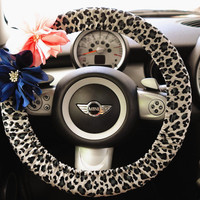 Car Steering wheel cover-Snow leopard w/ Chiffon Flower, Unique Automobile Accessories, Car Decor, Automobile Wheel cover, Valentine Gift
