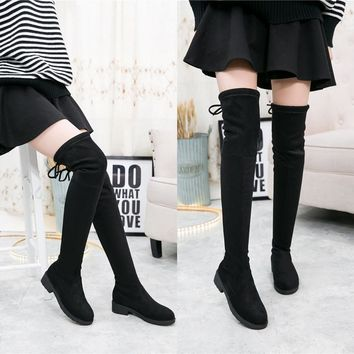On Sale Hot Deal Winter Skinny Stretch Flat Knee-length Boots [11557113735]
