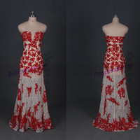 2014 long champagne red lace prom dress for busty women,sexy stunning wedding dresses hot,unique cheap wedding gowns under 200.