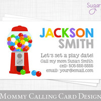 Mommy Calling Card // Play Date Card // Gumball Kids Calling Card // Business card for Moms // Mom of cards // Printable JPEG