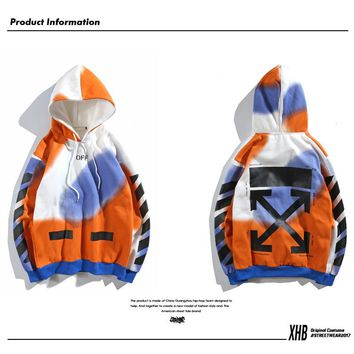 Tide brand OFF White sweater plus velvet men and women with the same paragraph Paris rendering limited OW casual jacket hoodie jacket