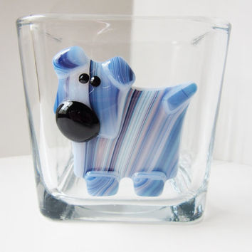 Whimsical blue dog candle holder, votive candleholder, square glass jar, dog lover gift, dog home decor, dog present, glass art decor