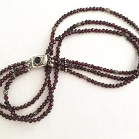 Unique Vintage Garnet, Three Strand Beaded Necklace Choker with Sterling Filigree Accent Beads, Bezel Set Black Onyx on Sterling Box Clasp