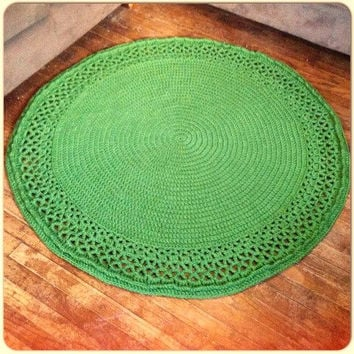 """Large Thick Soft Crochet 51"""" Round Swirl Doily Grass Green Area Rug Wool Handmade NEW Color Choices (shown Off White) Mat Housewares Decor"""