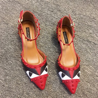 Women shoes 2017 new brand square heel shoes Spring luxury brand The Monster women shoes Women leather  with rivet moccasins