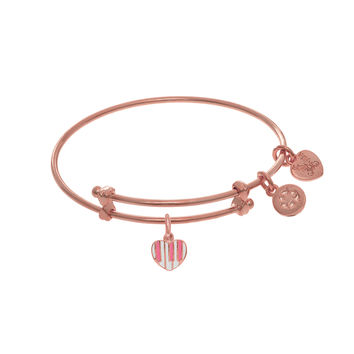 Heart Shaped Enamel Piano Charm Expandable Tween Bangle Bracelet