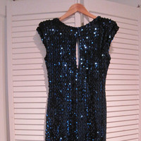 80's Midnight Blue Sequin Dress Sexy Open Back Keyhole Front