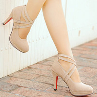 2015 New Arrival Women Pumps Gladiator High Heels Platform Pumps Sexy Ankle Straps Red Bottom Shoes