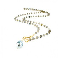 Tahitian Pearl and Labradorite Chain Necklace