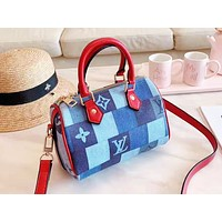 LV fashion hot selling casual women's print color matching check shoulder bag