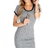 Black Knitted Short Sleeve Casual Dress