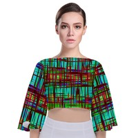Scratched Texture Tie Back Butterfly Sleeve Chiffon Top