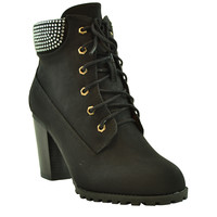 Womens Ankle Boots Lace Up Chunky Heel Rhinestone Booties black