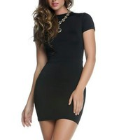 Open Back Mini Dress - Black
