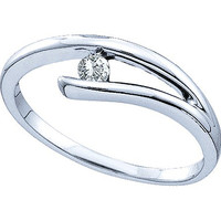 Diamond Ladies Fashion Ring with Round Center in 10k White Gold 0.1 ctw