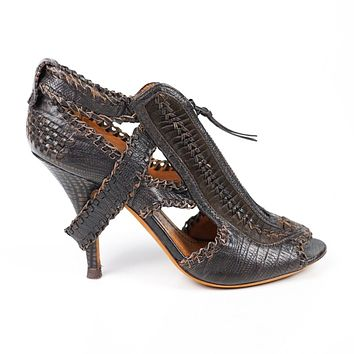 Givenchy Zip Heels Gladiator Brown Leather US 6.5