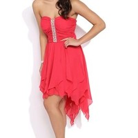 Strapless High Low Prom Dress with Ruched Stone Bodice and Hanky Hem