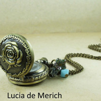 Floral pocket watch pendant  necklace- Rose necklace - Gift present- Cyber monday etsy  SALE -Coupon code.