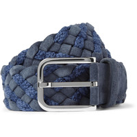Loro Piana - Blue 4cm Woven Suede and Cotton Belt | MR PORTER