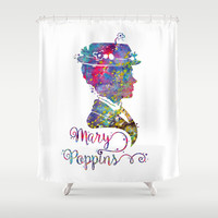 Mary Poppins Portrait Silhouette Shower Curtain by Bitter Moon