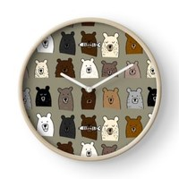 'Bear Portraits on Green' Clock by DoucetteDesigns