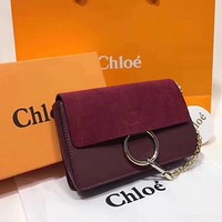 Chloe Fashion Women Shopping Leather Crossbody Shoulder Bag Satchel Wine Red I