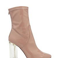 Lucite Heel Ankle Boots