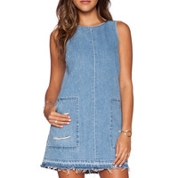 EVER Janie Shirt Dress in Distressed Light Blue