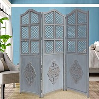 Three Panel Wooden Room Divider with Traditional Carvings and Cutouts, Blue By The Urban Port