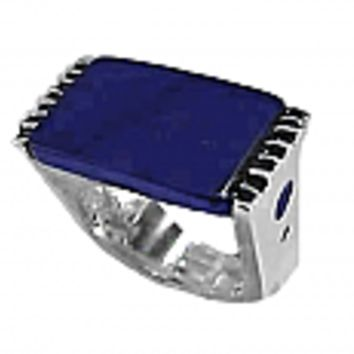 Sterling Silver and Lapis Lazuli Rectangular Slab Ring