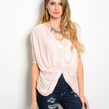 Pink and Ivory Lace Wrap Front Top