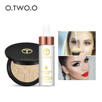 O.TWO.O 2pcs/set 24k Rose Gold Elixir Skin Make Up Oil+Brightening Face Baked Highlighter Powder Make Up Sets