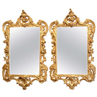 Pair of Early George III Period Rococo Giltwood Mirrors