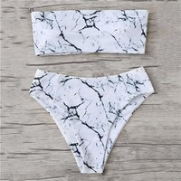 Bikini Set beach body Romwe Sport Marble Pattern Bandeau  2018 New Arrivals Multicolor Women Swimsuit Comfortable Sexy Beach Fitted Bikinis