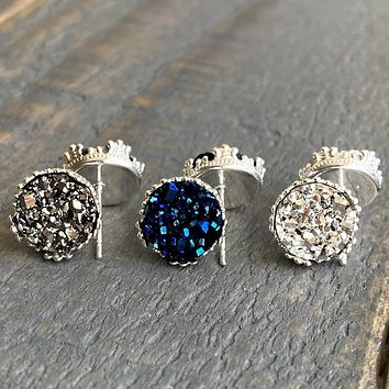 Gunmetal, Navy, and silver 10mm crown stud earring set (you pick setting tone)