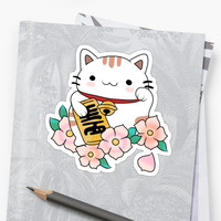 'Lucky Cat' Sticker by millie j
