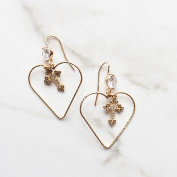 18k Gold Plated Kawaii Heart Hoop Cross Dangle Earrings