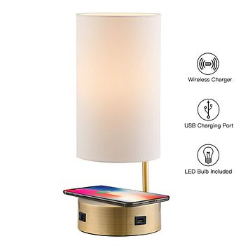 Lampression USB Nightstand Lamp with Wireless Charging Station for Bedroom, Modern Bedside Table Lamp for Living Room, Antique Brass with Ivory Shade Office Desk Lamp, LED Bulb Included