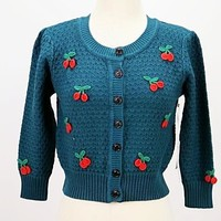 The Cherry 🍒 Bomb Pin Up Sweater in Peacock Blue with Cherry Embroidery